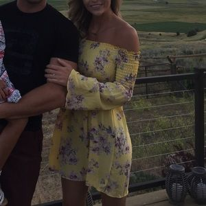 Yellow smocked off the shoulder bell sleeve dress